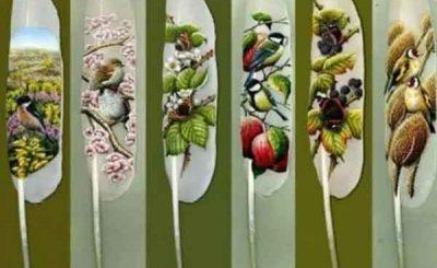 Ian Davie pittura sulle piume