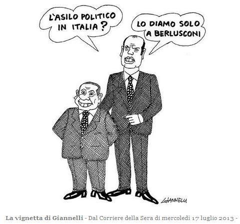 Asilo politico Berlusconi - Vignetta Giannelli