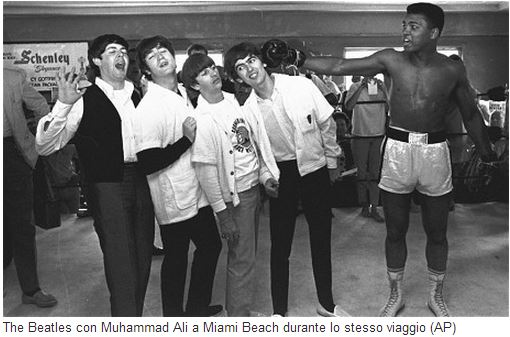 The Beatles con Muhammad Alì a Miami Beach nel 1964