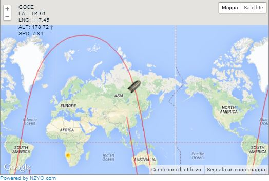 Tracciamento satellite GOCE in caduta sulla Terra - clicca sulla mappa