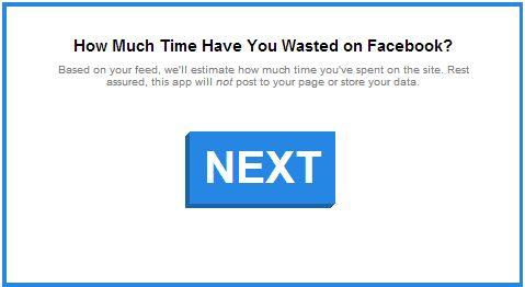 Calcola il tempo perso su Facebook, clicca su NEXT