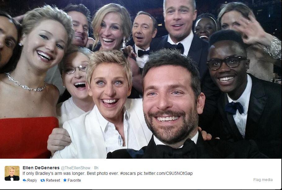 Selfie record twitter Ellen DeGeneres