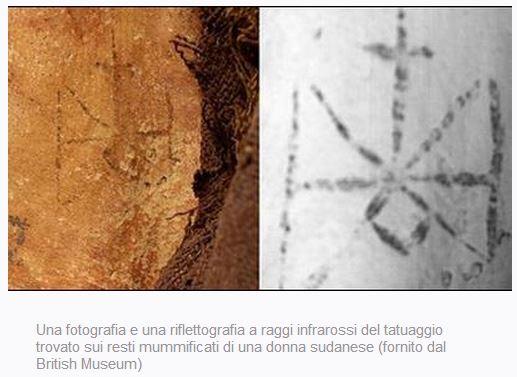 Tatuaggio interno coscia mummia femminile
