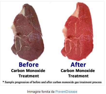 carne trattata con monossido di carbonio colore rosso