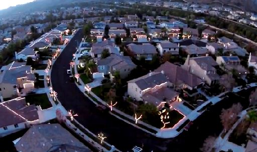 Manning Street a Yucaipa spettacolo luci di Natale