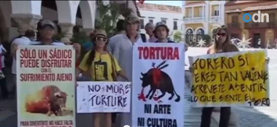 Fanny Pachón protesta contro la corrida,2.500 aghi nella sua schiena