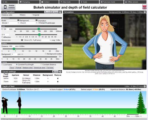 Simulatore online profondità di campo e sfocatura foto