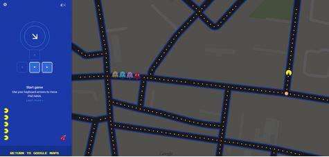 Pac-Man all'interno di Google Maps