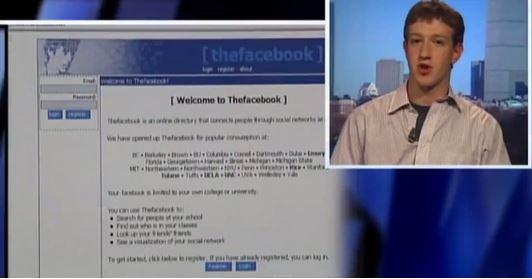 Mark Zuckerberg prima intervista televisiva nel 2004 per presentare Thefacebook il primo facebook