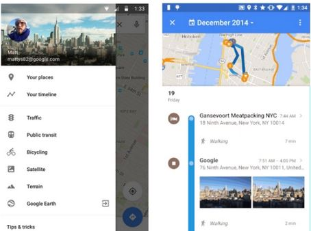 Timeline di Google Maps
