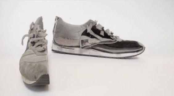 scarpa tagliata con getto d'acqua ad alta pressione