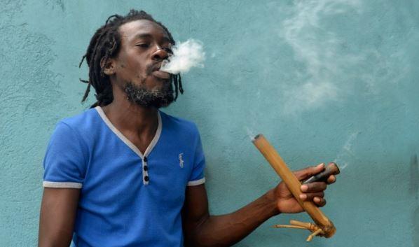 Nature giamaicano fuma marijuana