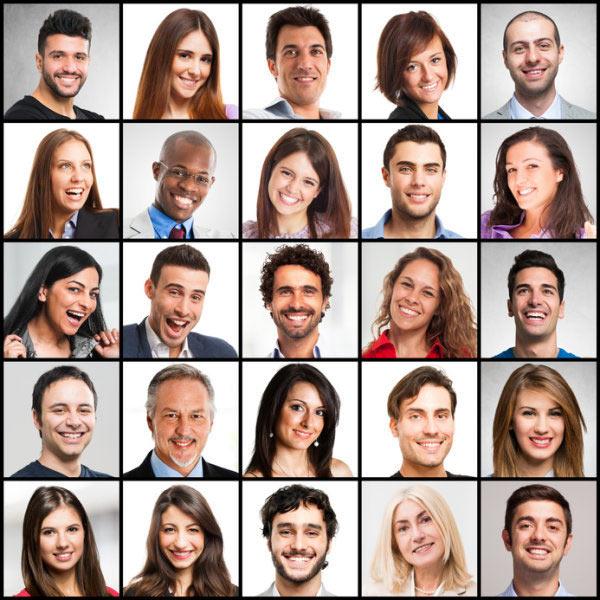 Sorrisi maschili e femminili