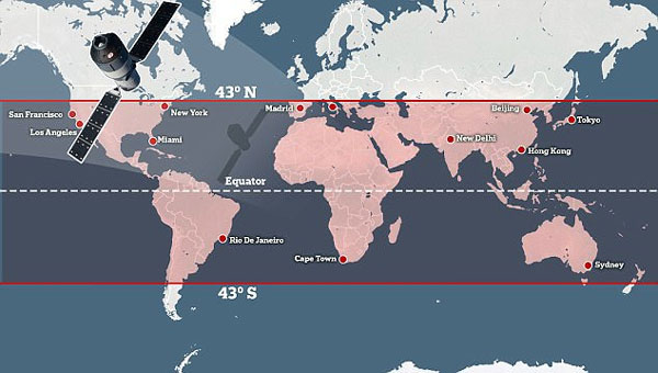 Tiangong 1 in caduta sulla Terra