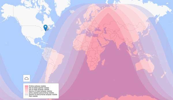Mappa eclissi lunare nel mondo