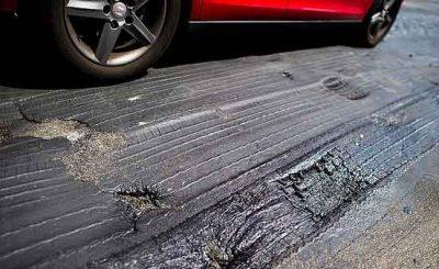Pavimento stradale surriscaldato