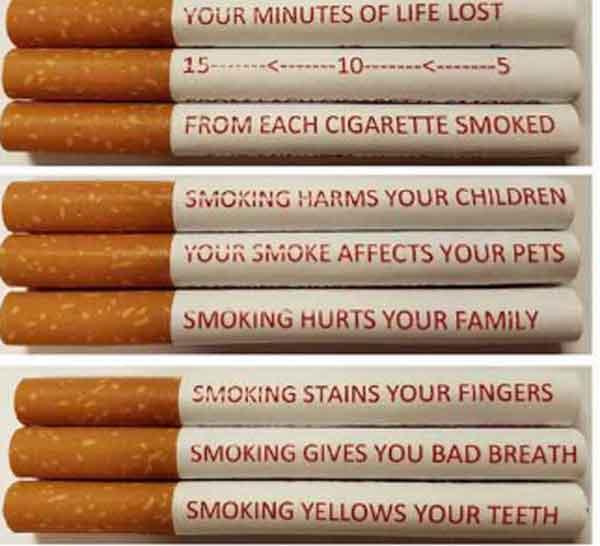 Scritte su singole sigarette il fumo fa male