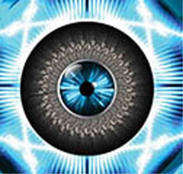 Occhi lampeggiante luce blu